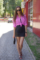 black Vila dress - hot pink vintage shirt - black asos bag