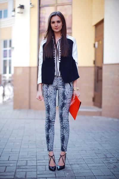 black Sheinside shirt - white Choies blazer - red asos bag - black Zara pants