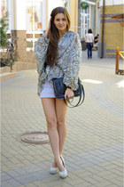 heather gray DIY dress - heather gray YSL shoes - black Bershka bag