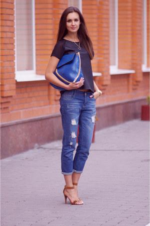 blue VJ-style bag - blue chicnova jeans - black H&M top