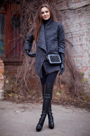 black Topshop boots - heather gray oversized OASAP coat