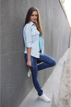 blue unknown brand jeans - sky blue DIY shirt - cream Converse sneakers