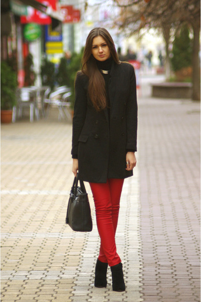 red New Yorker pants - black H&M coat - black Aldo bag