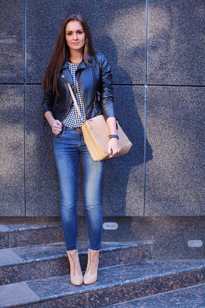 Sheinside jacket - asos boots - pull&bear jeans - vjstyle bag