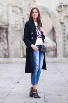 black River Island coat - sky blue Topshop jeans - black asos heels