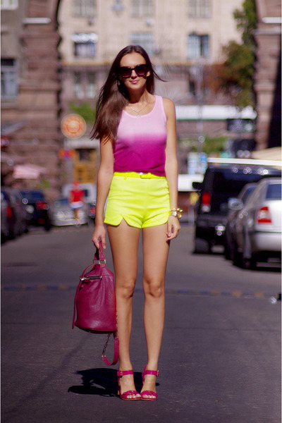 yellow romwe shorts - ruby red VJ-style bag - bubble gum romwe top