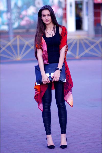 ruby red DIY blouse - black Zara shoes - black asos bag - black Topshop pants