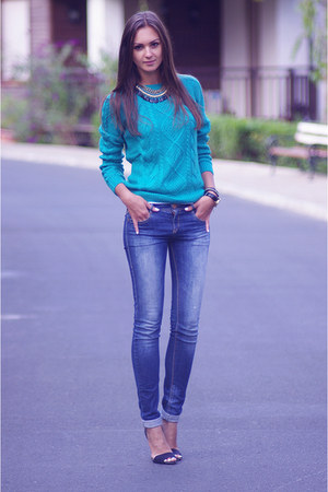 turquoise blue H&amp;M sweater - navy pull&amp;bear jeans - black Zara heels