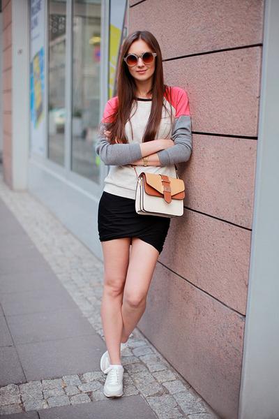 heather gray tideshe sweater - eggshell Accessorize bag - brown asos sunglasses