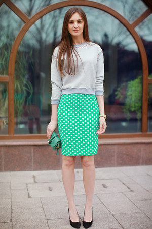 turquoise blue nowIStyle skirt - green OASAP bag - black Zara heels