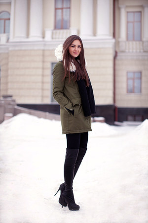 black Topshop boots - olive green vjstyle coat - black Topsop scarf