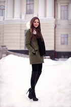black Topshop boots - olive green vjstyle coat - black Topsop scarf