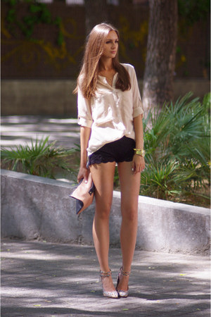 black DIY shorts - beige VJ-style shirt - camel asos bag - tan asos heels