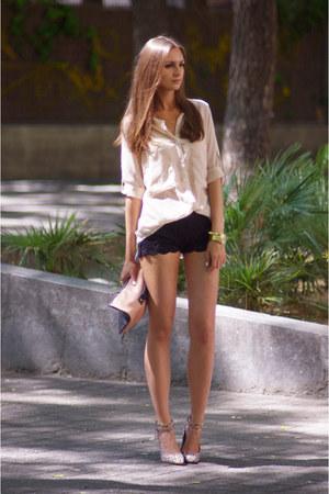 black DIY shorts - beige VJ-style shirt - camel asos bag - tan asos heels