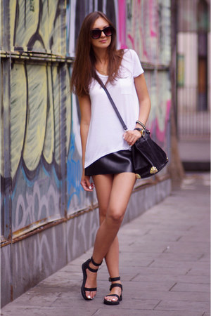 black VJ-style bag - black OASAP sandals - white H&M top - black DIY skirt