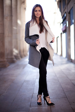 heather gray draped Chicwish coat - black Zara jeans - white cotton H&amp;M t-shirt
