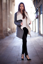 heather gray draped Chicwish coat - black Zara jeans - white cotton H&M t-shirt