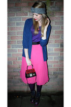 hot pink H&M skirt - ruby red house purse Beyond Retro bag