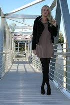 jacket - dress - DKNY tights - Ellen Tracy shoes - accessories