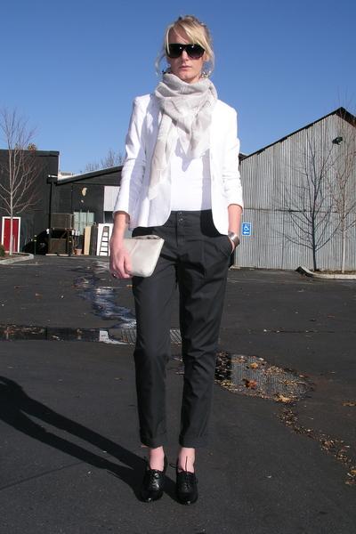 gray Victorias Secret pants - black Ellen Tracy shoes - white Gap purse - white