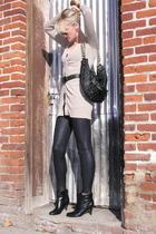 black Forever 21 leggings - black Aldo boots - beige Mossimo cardigan - black pu