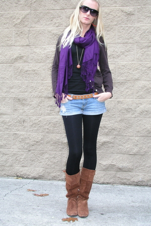 blue shorts - orange boots - brown sweater - black leggings - purple scarf