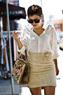 Beige-skirt-white-shirt-brown-bag