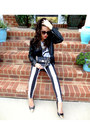 Black-striped-bebe-jeans-black-faux-leather-mural-jacket