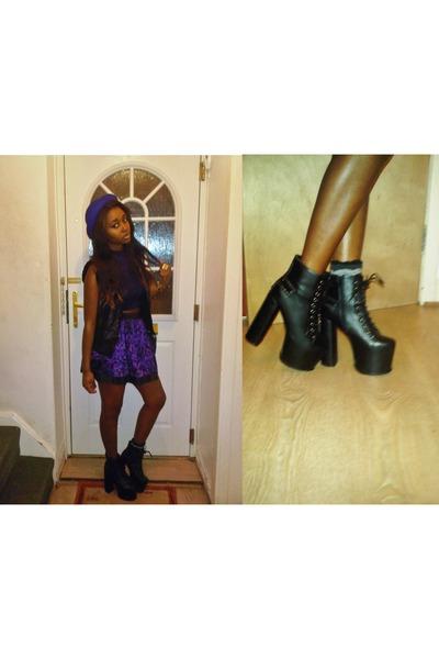 platform boots Missguided boots - sailor Zara hat - skater Miss Selfridge skirt
