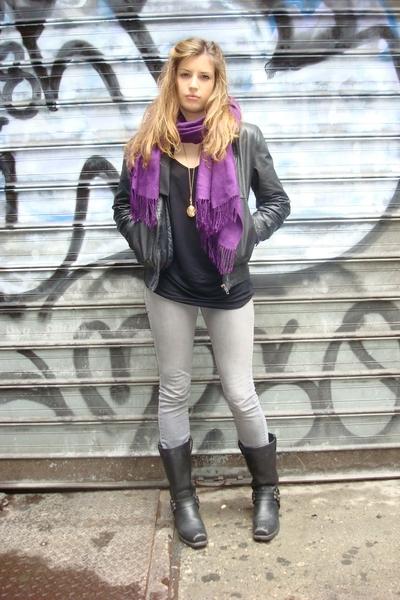 random scarf - Levis jeans - Frye shoes - American Apparel top