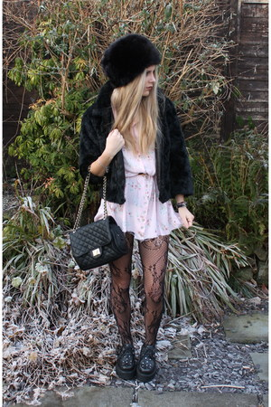 black H&amp;M hat - light pink thrifted dress - black H&amp;M jacket - black Marc B bag
