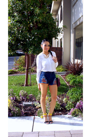 ivory OASAP necklace - ruby red Ross bag - blue denim romwe shorts
