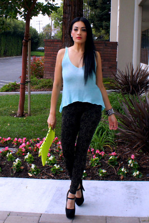 black poof apparel leggings - yellow OASAP bag - sky blue poof apparel top