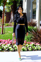 black crop top ami clubwear top - nude Aldo bag - green Shoedazzle heels
