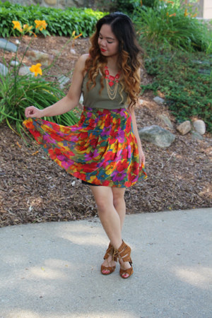 red thrifted skirt - tan Rue 21 shoes - olive green thrifted top