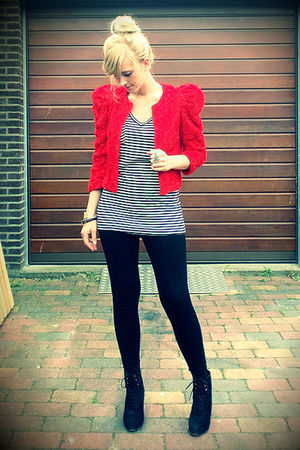 black wedges Zara shoes - red red roses H&M the garden collection jacket