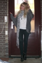 black Diesel jeans - black Sacha shoes - silver H&M scarf - white H&M shirt - gr