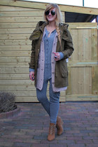 army green zara parka jacket - heather gray zoe tees jumpsuit jumper - light pin