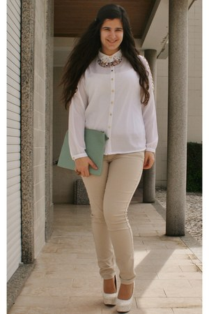 light blue Primark bag - camel H&M pants - ivory BLANCO blouse