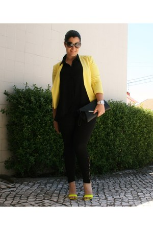 yellow H&M blazer - black Aldo bag - gray Vogue sunglasses