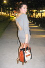 Heather-gray-peplum-asos-dress-bronze-boston-celine-bag