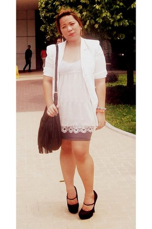 white Zara coat - black platform Forever 21 shoes - ivory eyelet Bayo dress