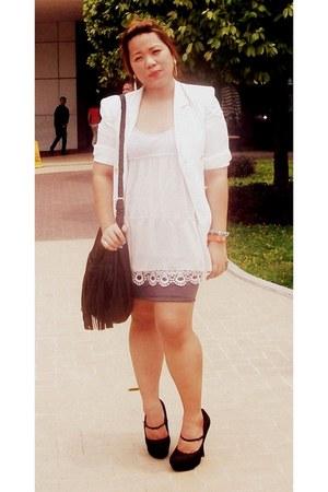 white Zara coat - black platform Forever 21 shoes - ivory eyelet Bayo dress
