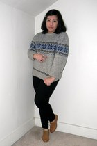heather gray thrifted sweater - black Old Navy jeans - brown Forever 21