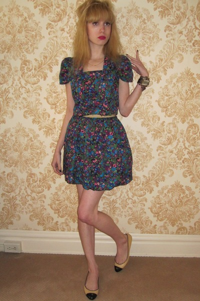 blue Anna Sui dress - camel