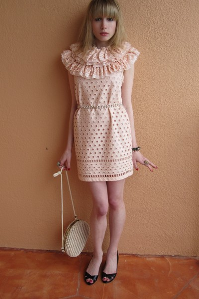 pink Valentino Red dress - red bracelet - brown bracelet - white vintage purse -