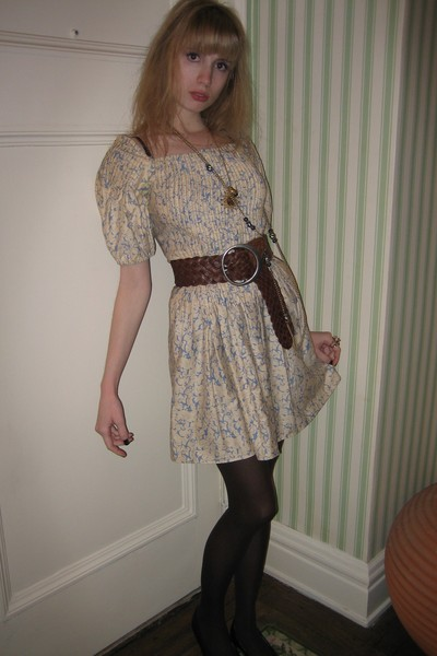 Vintage Albert Nipon dress - belt - Vintage costume necklace - Vintage costume n