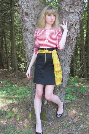 red Shabby Apple dress - yellow vintage cathy horn scarf - gold vintage necklace