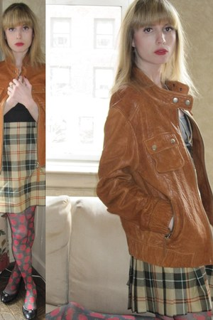 tawny leather Elizabeth & James jacket - black rose Betsey Johnson tights