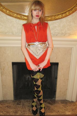 orange Piazza Sempione dress - gold vintage necklace - gold vintage bracelet - g